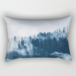 Pine forest foggy rainy day boreal pines trees landscape photo Rectangular Pillow