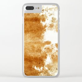 Golden Brown Cow Hide Clear iPhone Case