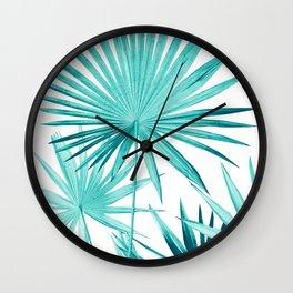 Fan Palm Leaves Jungle #3 #tropical #decor #art #society6 Wall Clock