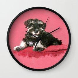 Miniature Schnauzer Puppy Watercolor Digital Art Wall Clock