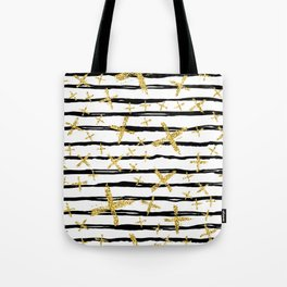 Pattern with brush stripes and gold glitter cross Tote Bag