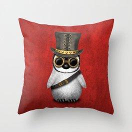 Steampunk Baby Penguin Throw Pillow