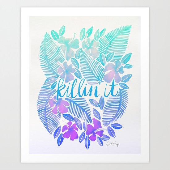 Killin' It – Turquoise + Lavender Ombré Art Print