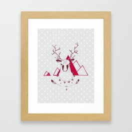 Christmas Geo Deer Framed Art Print