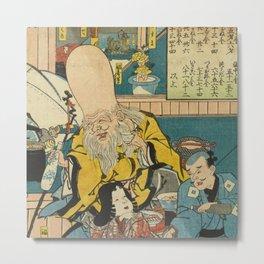 A long head Japanese person Ukiyo-e Metal Print