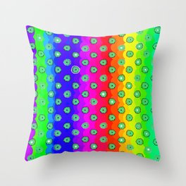 Rainbow and green flowers Throw Pillow