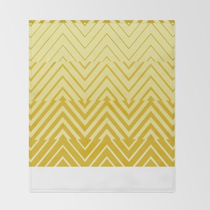 Chevron Ombre Stencil Yellow Gold Throw Blanket By Cheryldaniels