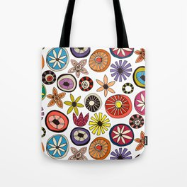 summer flowers multi white Tote Bag