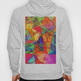 psychedelic geometric triangle polygon pattern abstract background in red orange blue green Hoody
