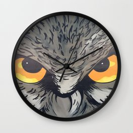 Eagle owl art owl bird drawing Wall Clock