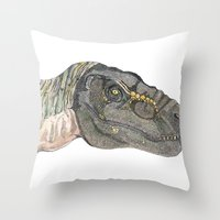 t rex Throw Pillows featuring T-Rex by Raffles Bizarre