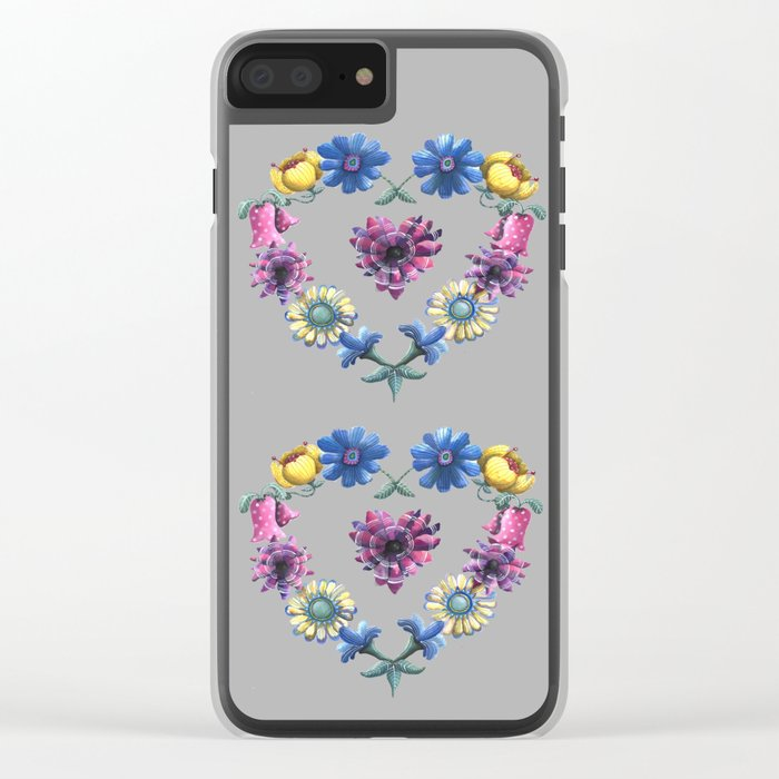 Lovely Flowers Black Clear iPhone Case
