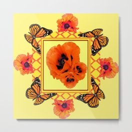 WESTERN ORANGE POPPIES & BUTTERFLIES  YELLOW ART DESIGN Metal Print
