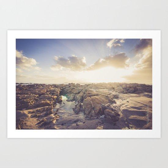 Golden hour, rocky beach landscape Art Print