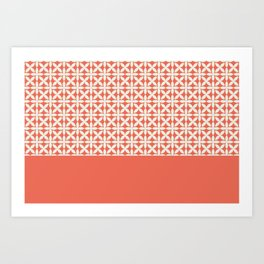 Pantone Cannoli Cream Square Petal Pattern on Pantone Living Coral Art Print