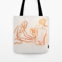 nudes Tote Bags featuring Nudes looking away by CharlieValintyne