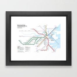 Boston Rapid Transit Map Framed Art Print
