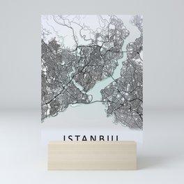 Istanbul, Turkey, White, City, Map Mini Art Print