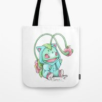 projectrocket Tote Bags featuring Until the Apple is Ripe by Randy C
