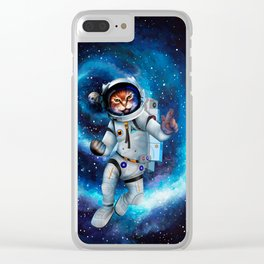 Space cat iPhone 4 5 6 7, ipod, ipad, pillow case and tshirt Clear iPhone Case