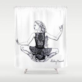 Crouching Dancer ballet pointe shoes Shower Curtain