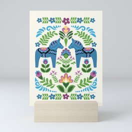 Swedsh Dala Horses Blue Mini Art Print