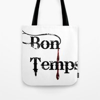 true blood Tote Bags featuring true blood by macnicolae