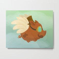 Flying Steampunk Pig Metal Print