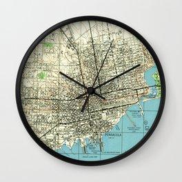 Vintage Map of Pensacola Florida (1944) Wall Clock