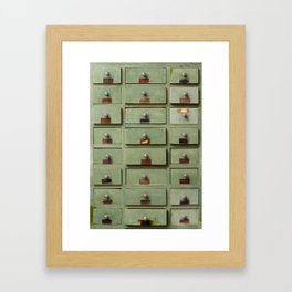 Old wooden cabinet with drawers Framed Art Print