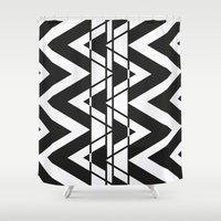 1d Shower Curtains featuring Geometrics series 1D by VeronicaAnzola