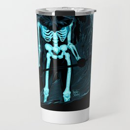 Demon with a scythe in the fire Travel Mug