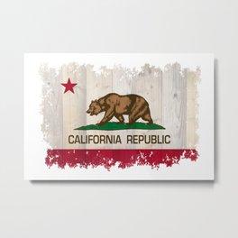 California Republic flag on woodgrain   Metal Print