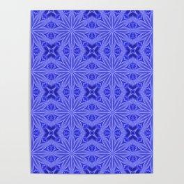 Blue Flower Cross Floral Pattern Poster