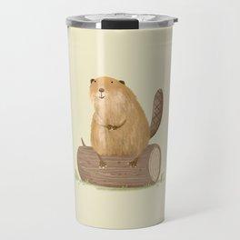 Beaver on a Log Travel Mug