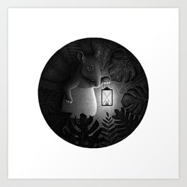 Tapirs are night creatures | Black and White Illustration Art Print