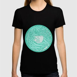 Polynesian Woman Sea Kelp Hair Circle Mono Line T-shirt