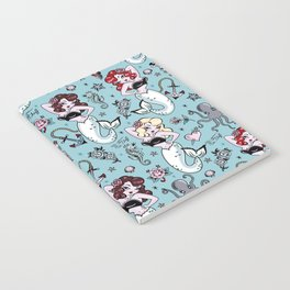 Molly Mermaid vintage pinup inspired nautical tattoo Notebook