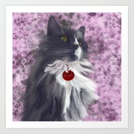 Fluffy Grey Kitty Art Print