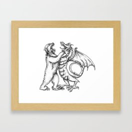 Grizzly Bear Fighting  Chinese Dragon Tattoo Framed Art Print