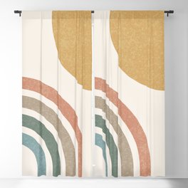 Mid Century Colorful Sun & Rainbow Blackout Curtain