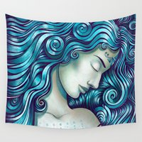 tattoos Wall Tapestries featuring Calypso Sleeps by TotalBabyCakes