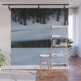 Snow. Stripes. Fogged Mirror. Wall Mural