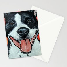 Black & White Adorable Pit Bull  Stationery Cards