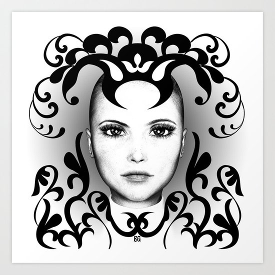 Black and white ornamental face Art Print