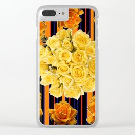 GOLDEN & YELLOW ROSES DARK STRIPES ART Clear iPhone Case