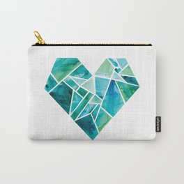 "Wholeheartedly ""Whole Heart"" Blues + Greens Carry-All Pouch"