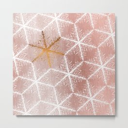 Elegant Geometric Gold Snowflakes Holiday Pattern Metal Print