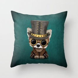 Steampunk Baby Red Panda Throw Pillow