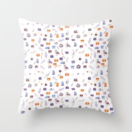 lovely splotchy watercolour pattern with birds and flowers Throw Pillow